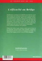 Efficacite Au Bridge - 4ème de couverture - Format classique