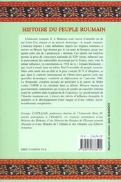 Histoire du peuple roumain - 4ème de couverture - Format classique