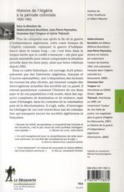 Histoire de l'Algérie à la période coloniale ; 1830-1962 - 4ème de couverture - Format classique