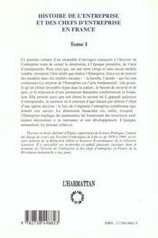 Histoire De L'Entreprise Et Des Chefs D'Entreprise En France T.1 ; Le Temps Des Pionniers 1830-1880 - 4ème de couverture - Format classique