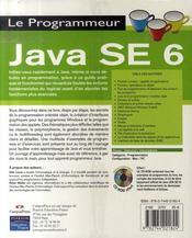 Java se 6 - 4ème de couverture - Format classique