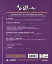 A Nous Le Monde ; Cm2 ; Le Manuel (Edition 2003) - 4ème de couverture - Format classique