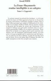 Franc-Maconnerie : Rendue Intelligible A Ses Adeptes Apprenti (La) T1 - 4ème de couverture - Format classique