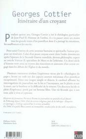Georges Cottier, itinéraire d'un croyant - 4ème de couverture - Format classique