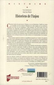 Historiens de l'Anjou - 4ème de couverture - Format classique