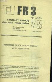 Fr 3 - Feuillet Rapide Fiscal Social - 16 Janvier 1978 - 33 E Annee - Panorama De L'Actualite Fiscale Au 1er Juin 1978. - Couverture - Format classique