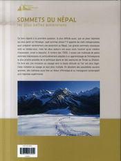 Sommets du Népal ; les plus belles ascensions - 4ème de couverture - Format classique