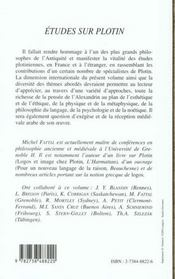 Etudes Sur Plotin - 4ème de couverture - Format classique