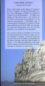 L'Archipel De Riou ; Calanques De Marseille - 4ème de couverture - Format classique