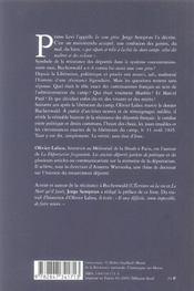 La Zone Grise La Resistance Francaise A Buchenwald - 4ème de couverture - Format classique