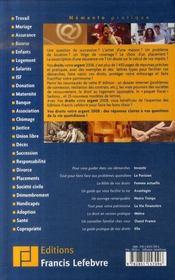 Vos droits, votre argent 2008 - 4ème de couverture - Format classique