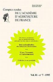 Internationalisation des industries alimentaires ; l'eau l'economie et l'environnement ; comptes rendus - Couverture - Format classique