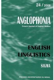 Vente  REVUE ANGLOPHONIA T.24 ; english linguistics (édition 2008)  - Wilfrid Rotge