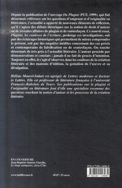 Plagiats ; les coulisses de l'écriture - 4ème de couverture - Format classique