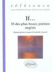 If...35 Des Plus Beaux Poemes Anglais Oeuvres De Litterature Etrangere En Version Originale - Intérieur - Format classique