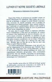 Luther Et Notre Societe Liberale ; Remanence Et Distorsions D'Une Pensee - 4ème de couverture - Format classique