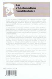 La Reeducation Vestibulaire - 4ème de couverture - Format classique