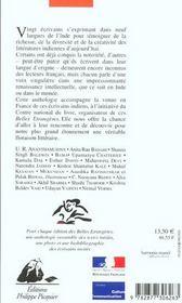 Belles Etrangeres - 20 Ecrivains Indiens - 4ème de couverture - Format classique
