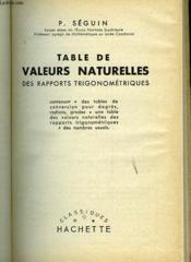 Table De Valeurs Naturelles Des Rapports Trigonometiques - Couverture - Format classique