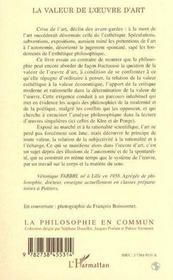 La Valeur De L'Oeuvre D'Art - 4ème de couverture - Format classique