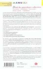 Manuel Droit Des Procedures Collectives - 4ème de couverture - Format classique