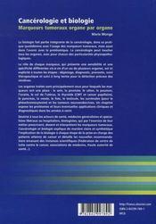 Cancérologie et biologie ; marqueurs tumoraux organe par organe - 4ème de couverture - Format classique