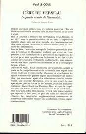 L'Ere Du Verseau - 4ème de couverture - Format classique