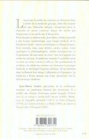 Medecine A Rome (La) - 4ème de couverture - Format classique