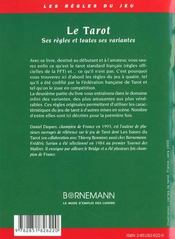 Tarot Ses Regles Et Toutes Ses Variantes - 4ème de couverture - Format classique