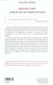 Bastien-Thiry ; jusqu'au bout de l'Algérie française - 4ème de couverture - Format classique