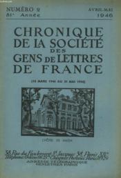CHRONIQUE DE LA SOCIETE DES GENS DE LETTRES DE FRANCE N°2, 81e ANNEE ( DU 15 MARS 1946 AU 31 MAI 1946) - Couverture - Format classique