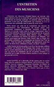 L'Entretien Des Musiciens - 4ème de couverture - Format classique