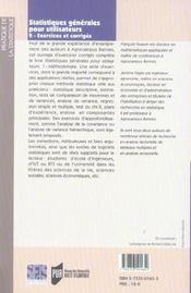 Statistiques Generales 2 - 4ème de couverture - Format classique
