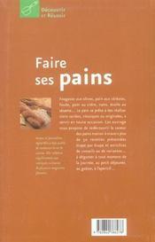 Faire Ses Pains - 4ème de couverture - Format classique
