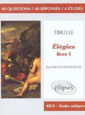 Tibulle Elegies Livre I - Intérieur - Format classique