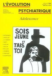 Revue Evolution Psychiatrique N.71 ; Adolescence - Intérieur - Format classique
