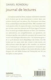 Journal de lectures. 1999-2006 - 4ème de couverture - Format classique