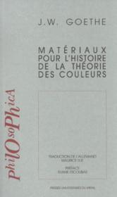 Matériaux pour l'histoire de la théorie des couleurs - Couverture - Format classique