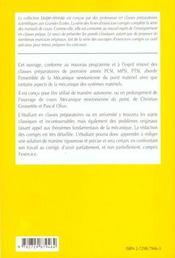 Mecanique Newtonienne Du Point Exercices Corriges 1re Annee Pcsi Mpsi Ptsi - 4ème de couverture - Format classique
