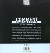 Comment Photographier Celle Que Vous Aimez - 4ème de couverture - Format classique