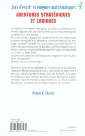Jeux D'Esprit Et Enigmes Mathematiques 4 - 4ème de couverture - Format classique