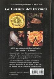 La Cuisine Des Terroirs ; 1200 Recettes Et Traditions Culinaires Des Provinces De France - 4ème de couverture - Format classique
