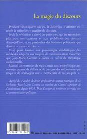 La Magie Du Discours - Precis De Rhetorique Audiovisuelle - 4ème de couverture - Format classique