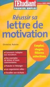 Réussir sa lettre de motivation - Couverture - Format classique