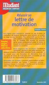 Réussir sa lettre de motivation - 4ème de couverture - Format classique