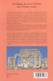 Archeologie Du Vin Et De L'Huile Dans L'Empire Romain - 4ème de couverture - Format classique