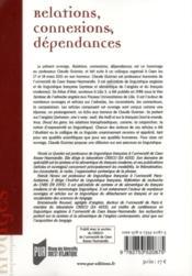 Relations, connexions, dépendances ; hommage au professeur Claude Guimier - 4ème de couverture - Format classique