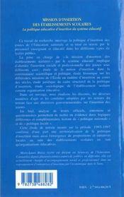 Mission D'Insertion Des Etablissements Scolaires ; La Politique Educative D'Insertion Du Systeme Educatif - 4ème de couverture - Format classique