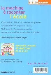 Le petit monde de mademoiselle Prout t.2 ; la machine à raconter ce qu'on fait à l'école - 4ème de couverture - Format classique