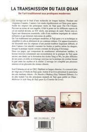 La Transmission Du Taiji Quan - 4ème de couverture - Format classique
